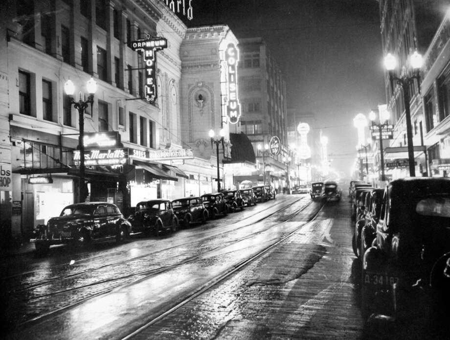 Here's another picture from that same spot on Fifth Avenue before the blackout, Dec. 12, 1941, according to notes at MOHAI. Photo: MOHAI, Seattle-Post-Intelligencer Collection
