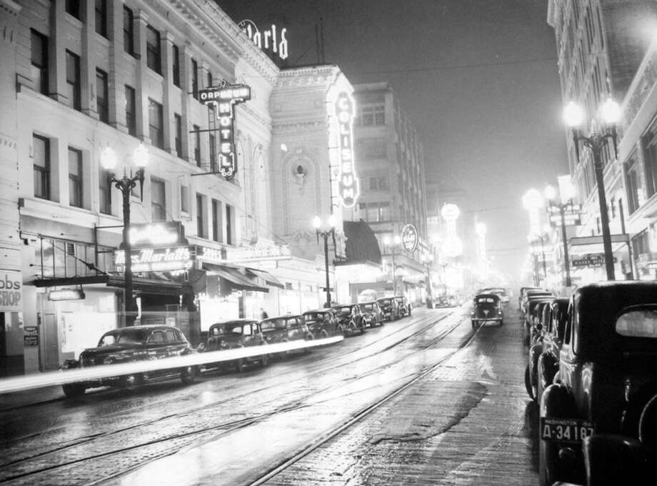 This is Fifth Avenue in Seattle just before a blackout on Dec. 12, 1941, according to notes at MOHAI. Photo: MOHAI, Seattle-Post-Intelligencer Collection