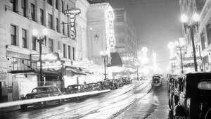 This is Fifth Avenue in Seattle just before a blackout on Dec. 12, 1941, according to notes at MOHAI.