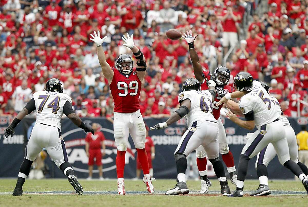 """You can't get much past him. The nickname """"J.J. Swat"""" would not be entirely wrong. Watt batted away more passes between 2011-2013 as an individual player (26) than two entire NFL teams - N.Y. Jets, 25, and Jacksonville Jaguars, 24."""