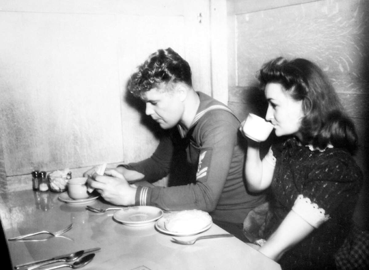 Teenagers Harold Mouser and Lenore Frank in Seattle in December of 1941, during a wartime blackout.