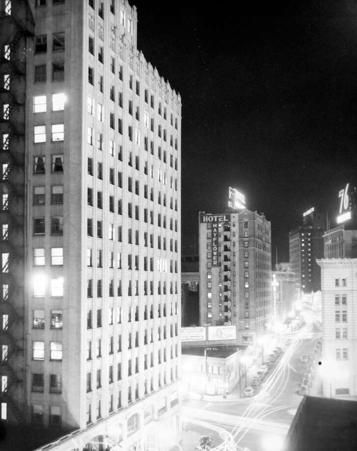 This picture looks west on Olive Way at Westlake before a 1941 blackout, according to notes at MOHAI. Photo: MOHAI, Seattle-Post-Intelligencer Collection