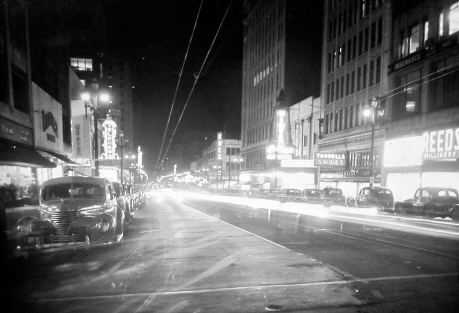 This was Third Avenue preparing for another blackout in November 1943, according to P-I notes preserved at MOHAI. Photo: MOHAI, Seattle-Post-Intelligencer Collection