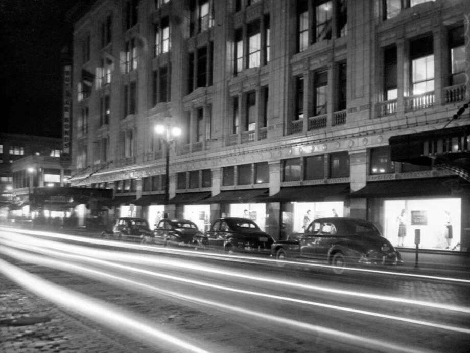 This picture, taken just before a World War II blackout, shows the Frederick and Nelson building that's now the Nordstrom flagship. Photo: MOHAI, Seattle-Post-Intelligencer Collection