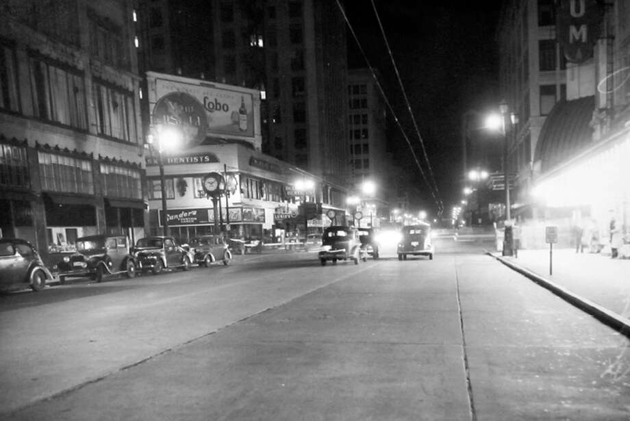 Another Seattle blackout night picture preserved at MOHAI. This one includes Pike Street. Photo: MOHAI, Seattle-Post-Intelligencer Collection