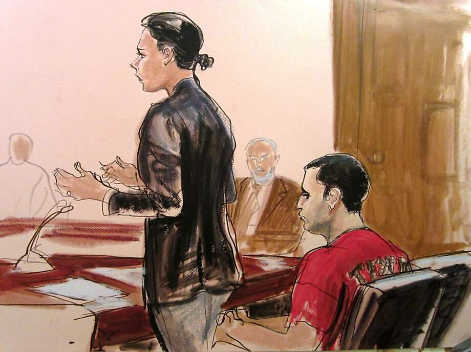 In this courtroom drawing Federal Defender Julie Gatto requests bail for her client, New York City Police Officer Gilberto Valle, right, at Manhattan Federal Court, Thursday, Oct. 25, 2012 in New York. Valle was charged with leading a ghoulish double life by using a law enforcement database and fetish chat rooms to dream up a plot to torture women and then cook and eat their body parts. (AP Photo/Elizabeth Williams) Photo: Elizabeth Williams, Associated Press