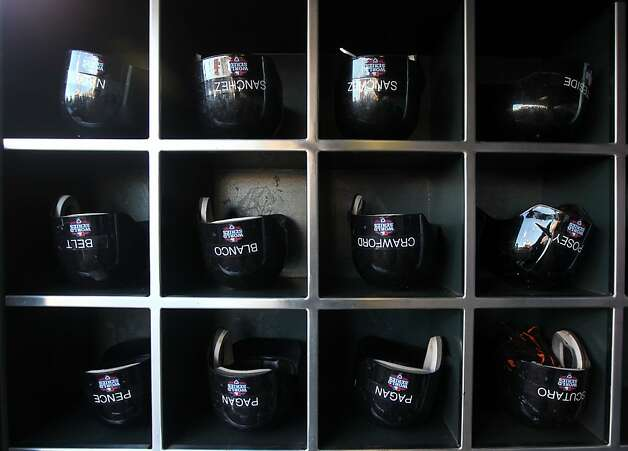 The Giants' helmets await another day, but it's the Tigers who are upside down. Photo: Lance Iversen, The Chronicle