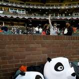 Panda heads wait to be worn before the start of the game, as the San Francisco Giants prepare to take on the Detroit Tigers in game two of the World Series, on Wednesday Oct. 24, 2012 at AT&T Park, in  San Francisco, Calif.