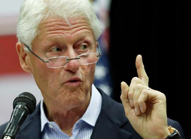Former President Bill Clinton speaks during a campaign rally, Thursday, Oct. 25, 2012, in San Antonio. Clinton threw his support for State Rep. Pete Gallego, D-Alpine, and U.S. congressional hopeful Joaquin Castro during the rally. (AP Photo/Eric Gay) Photo: Eric Gay, Associated Press / AP