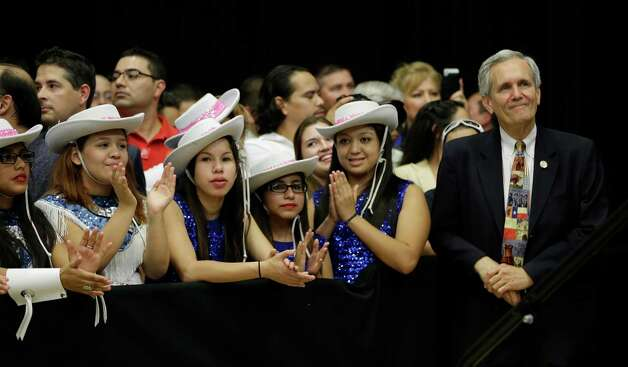 Rep. Lloyd Doggett , D-Austin, right, waits to speak at a campaign rally, Thursday, Oct. 25, 2012, in San Antonio. (AP Photo/Eric Gay) Photo: Eric Gay, Associated Press / AP