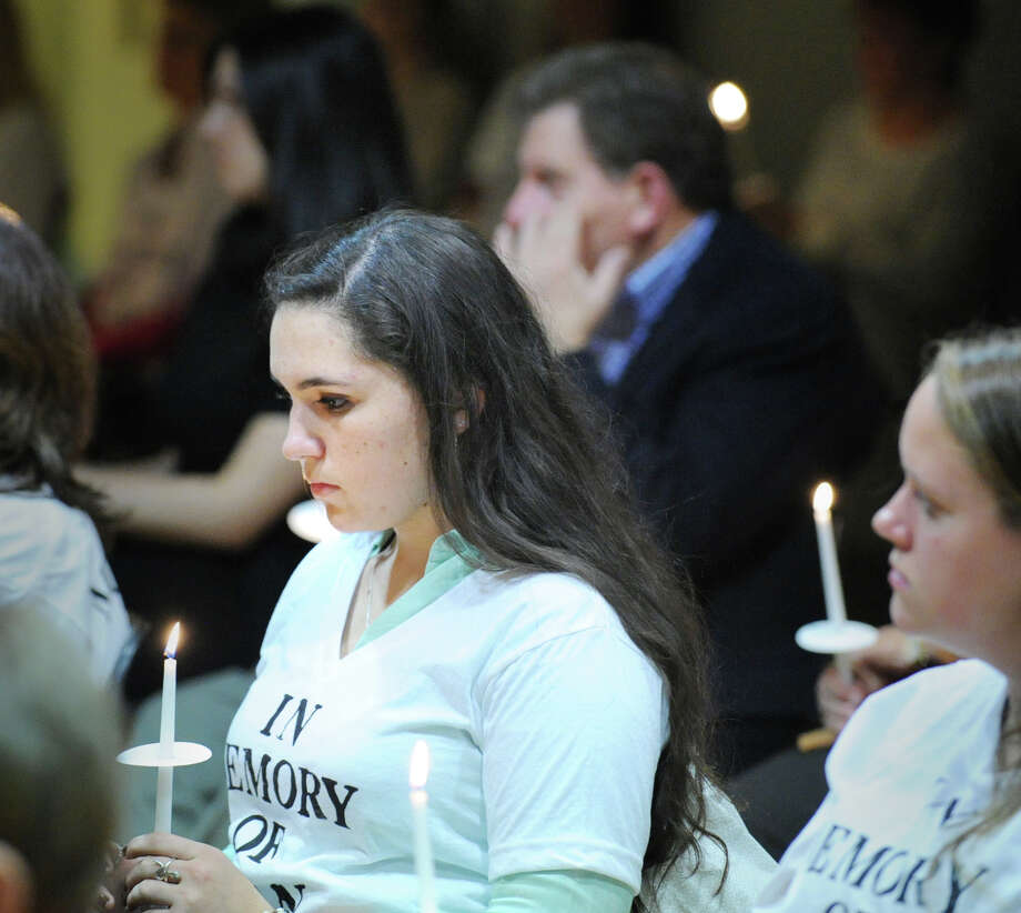 Jody Greene, 17, a Greenwich High School senior, during the candlelight vigil ceremony to observe Domestic Violence Awareness Month at the Greenwich YWCA, Thursday night, Oct. 25, 2012. Photo: Bob Luckey / Greenwich Time