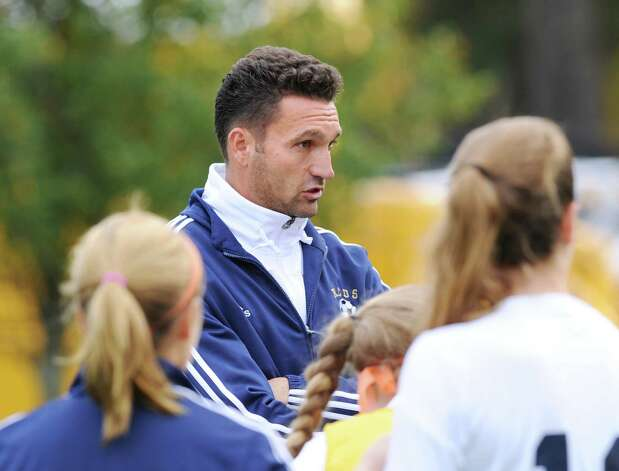 Rye Country Day School girls soccer coach Alin Andrei during the high school soccer match between Convent of the Sacred Heart and Rye Country Day School at Convent in Greenwich, Thursday afternoon, Oct. 25, 2012. Photo: Bob Luckey / Greenwich Time