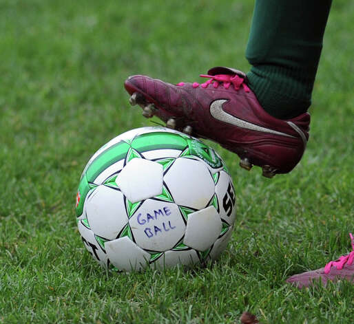 "The ""Game Ball"" during the high school soccer match between Convent of the Sacred Heart and Rye Country Day School at Convent in Greenwich, Thursday afternoon, Oct. 25, 2012. Photo: Bob Luckey / Greenwich Time"