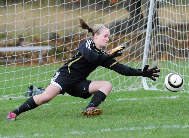 Convent of the Sacred Heart goalie Jenna Hascher during warm-ups prior to the start of the high school soccer match between Convent of the Sacred Heart and Rye Country Day School at Convent in Greenwich, Thursday afternoon, Oct. 25, 2012. Photo: Bob Luckey / Greenwich Time