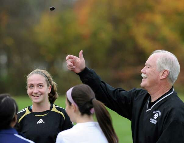 Convent of the Sacred Heart goalie Jenna Hascher smiles as she calls the coin-toss by the referee before the start of the high school soccer match between Convent of the Sacred Heart and Rye Country Day School at Convent in Greenwich, Thursday afternoon, Oct. 25, 2012. Photo: Bob Luckey / Greenwich Time