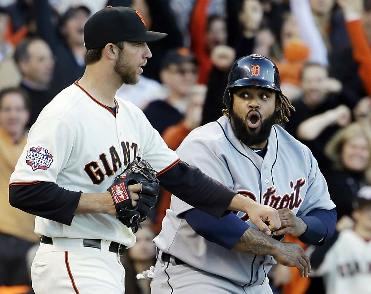 Detroit Tigers' Prince Fielder reacts in front of San Francisco Giants starting pitcher Madison Bumgarner after Fielder was called out at home on a play at the plate during the second inning of Game 2 of baseball's World Series Thursday, Oct. 25, 2012, in San Francisco. (AP Photo/David J. Phillip)