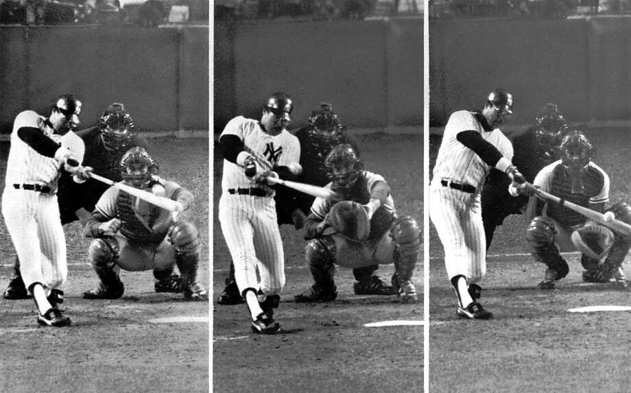 Reggie Jackson homered on three consecutive swings in Game 6 of the 1977 World Series. Photo: Ap, ASSOCIATED PRESS