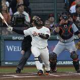 Giants' 3rd baseman Pablo Sandoval flies out in the 1st inning during the World Series game 2 at AT&T Park in San Francisco, Calif., on Thursday, Oct. 25, 2012.