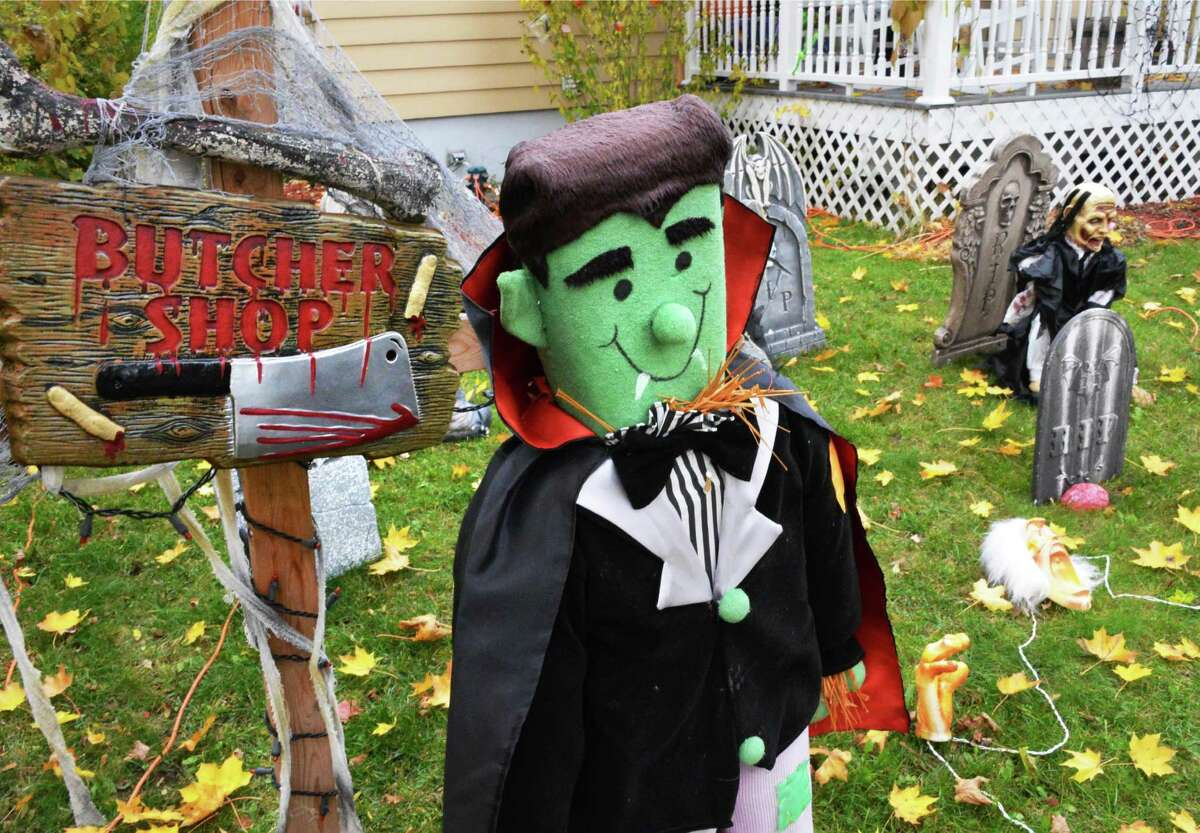 Halloween decorations on the lawn of a home on McLean Street in Ballston Spa Tuesday Oct. 23, 2012. (John Carl D'Annibale / Times Union)
