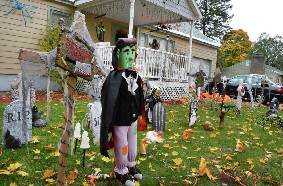 Halloween decorations on the lawn of a home on McLean Street in Ballston Spa Tuesday Oct. 23, 2012.  (John Carl D'Annibale / Times Union) Photo: John Carl D'Annibale / 10019780A