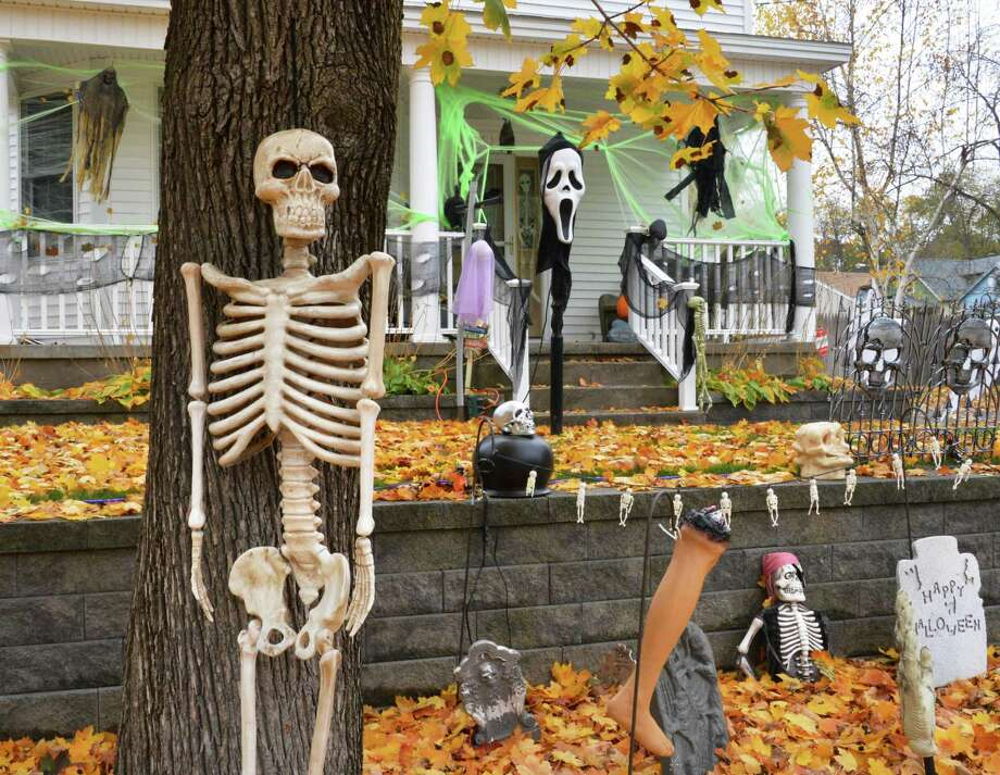 Halloween decorations in front of a home on Campbell Avenue in Schenectady Thursday Oct. 25, 2012.  (John Carl D'Annibale / Times Union) Photo: John Carl D'Annibale / 10019780A