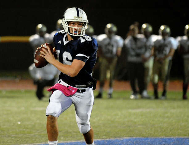 Staples' QB Jack Massie, during football action against Trumbull in Westport, Conn. on Friday October 19, 2012. Photo: Christian Abraham