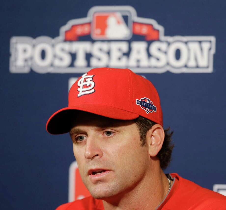 FILE - This Oct. 13, 2012 file photo shows St. Louis Cardinals manager Mike Matheny answers a question during a news conference for baseball's National League championship baseball series, in San Francisco. In his first season as Cardinals manager, Matheny came close to matching what Tony La Russa accomplished in his 33rd and final year. Along the way, he gained respect from players and peers. (AP Photo/Mark Humphrey, File) Photo: Mark Humphrey