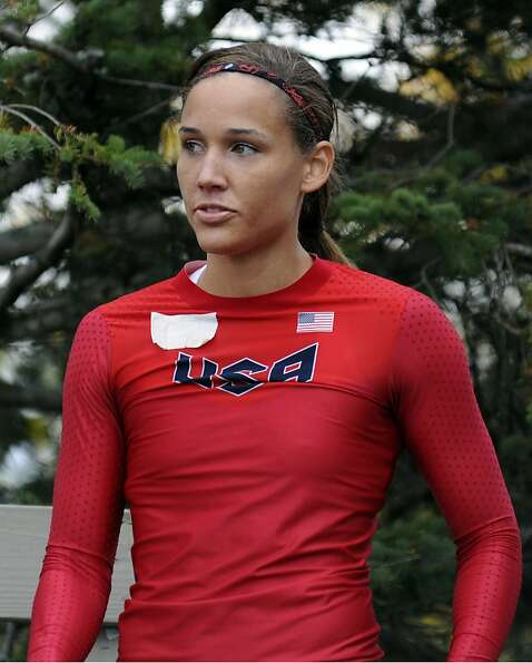 FILE - This Oct. 5, 2012 file photo shows Lolo Jones waiting for her run at the U.S. women's bobsled