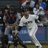 Giants' pitcher Madison Bumgarner pops out in the 2nd inning during the World Series game 2 at AT&T Park in San Francisco, Calif., on Thursday, Oct. 25, 2012.