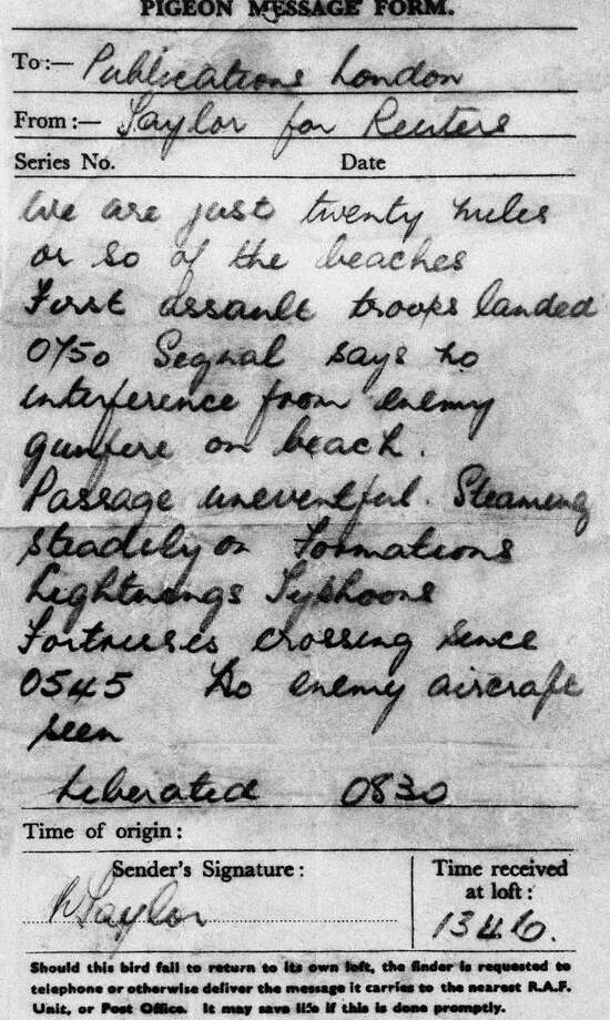 FILE- Gustave an R.A.F. Coastal Command carrier pigeon, brought this War Correspondent's dispatch back to England from the Allied Invasion forces off France, in this file photo dated June 6, 1944. The message from Reuters correspondent Mr. Taylor, was carried by Gustav the pigeon, and Gustav was awarded the Dickin Medal for animal gallantry for delivering the fist message from the Normandy Beaches from a ship off the beach-head while serving with the RAF on 6 June 1944. Photo: Associated Press / AP