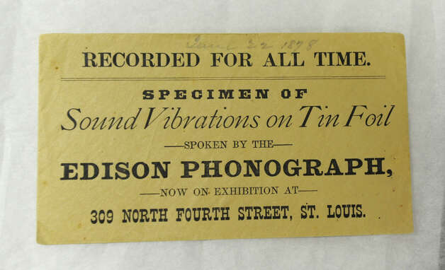 Label from the box containing a rare Thomas Edison tinfoil recording from June 22, 1878 in St. Louis which is now at the Schenectady Museum in Schenectady, N.Y. Thursday April 7, 2011. The Schenectady Museum just got a grant to preserve the fragile recording with a $25,000 Save America's Treasures grant. (Lori Van Buren / Times Union) Photo: Lori Van Buren