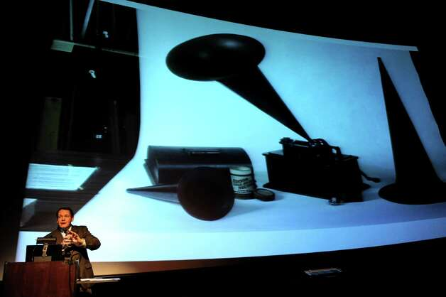 John Scheiter of MiSci talks about sound equipment invented by Thomas Edison on Thursday, Oct. 25, 2012, at the GE Theatre at Proctors in Schenectady, N.Y. (Cindy Schultz / Times Union) Photo: Cindy Schultz / 00019840A