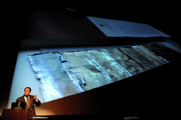 John Scheiter of MiSci talks about finding the Thomas Edison tinfoil recording on Thursday, Oct. 25, 2012, at the GE Theatre at Proctors in Schenectady, N.Y. (Cindy Schultz / Times Union) Photo: Cindy Schultz / 00019840A
