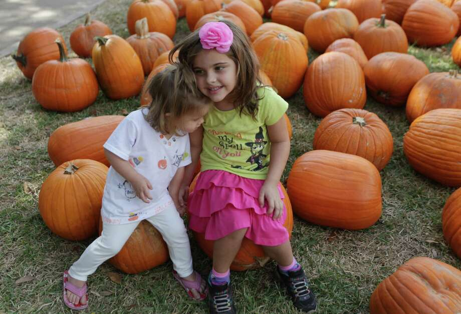 Ryann Miller, 1, embraces big sister Riley Claire, 5, while visiting the St. Luke's Methodist Church pumpkin patch on Thursday, Oct. 25, 2012, in Houston. Photo: Mayra Beltran, Houston Chronicle / © 2012 Houston Chronicle