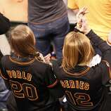 Two Giants fans are seen during game 2 of the World Series at AT&T Park on Thursday, Oct. 25, 2012 in San Francisco, Calif.