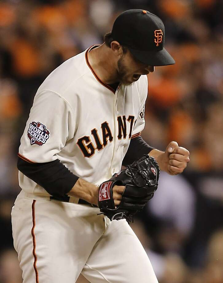 Giants' pitcher Madison Bumgarner reacts after striking out Tigers' second baseman Omar Infante in the 6th inning during game 2 of the World Series at AT&T Park on Thursday, Oct. 25, 2012 in San Francisco, Calif. Photo: Michael Macor, The Chronicle