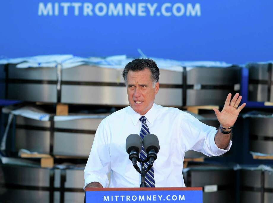 Republican presidential candidate, former Massachusetts Gov. Mitt Romney gestures as he speaks at a campaign rally at Worthington Steel, Thursday, Oct. 25, 2012, in Worthington, Ohio. (AP Photo/Jay LaPrete) Photo: Jay LaPrete