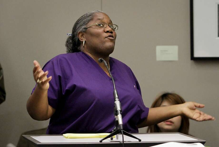 Angela Thomas speaks during the City College of San Francisco Board of Trustees meeting  to vote on proposals  to trim $2 million from the budget. Photo: John Storey, Special To The Chronicle