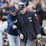 Tigers' manager Jim Leylan argues a call with home plate umpire Da Iassogna in the 2nd inning during game 2 of the World Series at AT&T Park on Thursday, Oct. 25, 2012 in San Francisco, Calif.