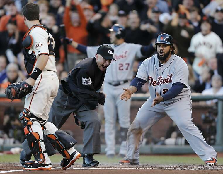 Prince Fielder is disbelieving of the call after a pivotal play of the World Series.