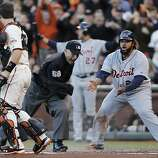 Tigers' first baseman Prince Fielder argues with home plate umpire Dan Iassogna as he's called in the 2nd inning during game 2 of the World Series at AT&T Park on Thursday, Oct. 25, 2012 in San Francisco, Calif.
