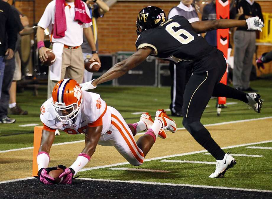Clemson's Brandon Ford dives for a first-half touchdown in his team's 42-13 win over Wake Forest in Winston-Salem, N.C. Photo: Chuck Burton, Associated Press