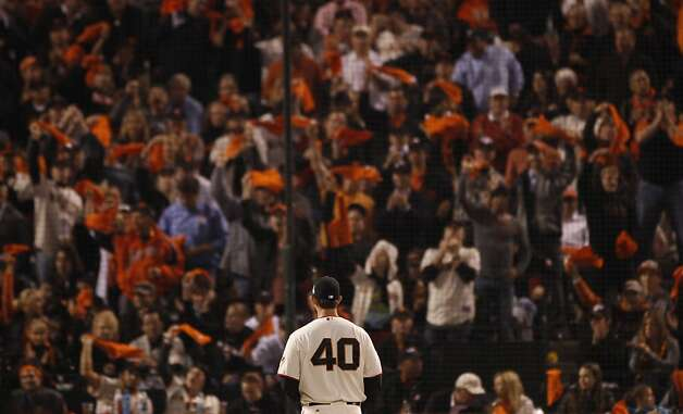 Giants fans show their appreciation for Madison Bumgarner, who pitched brilliantly after correcting some windup flaws that had hampered him in recent weeks. Photo: Carlos Avila Gonzalez, The Chronicle