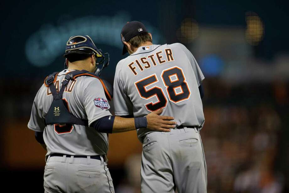 Detroit Tigers catcher Gerald Laird (9) talks with starting pitcher Doug Fister in Game 2 of the 2012 World Series at AT&T Park on Thursday, October 25, 2012, in San Francisco, California. The Giants won, 2-0, to take a 2-0 series lead. (Paul Kitagaki Jr./Sacramento Bee/MCT) Photo: Paul Kitagaki Jr., McClatchy-Tribune News Service / ARCHIVE
