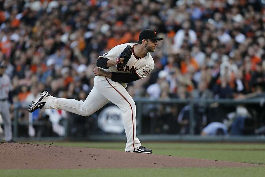 Madison Bumgarner, who had lost his starts against Cincinnati and St. Louis this postseason, allowed two hits and no runs in seven innings during Game 2 of the World Series. Photo: Michael Macor, The Chronicle