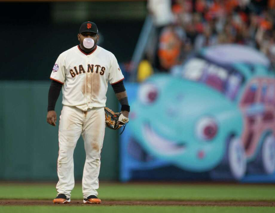 San Francisco Giants third baseman Pablo Sandoval (48) blows a bubble during action against the Detroit Tigers in Game 2 of the 2012 World Series at AT&T Park on Thursday, October 25, 2012, in San Francisco, California. (Paul Kitagaki Jr./Sacramento Bee/MCT) Photo: Paul Kitagaki Jr., McClatchy-Tribune News Service / ARCHIVE
