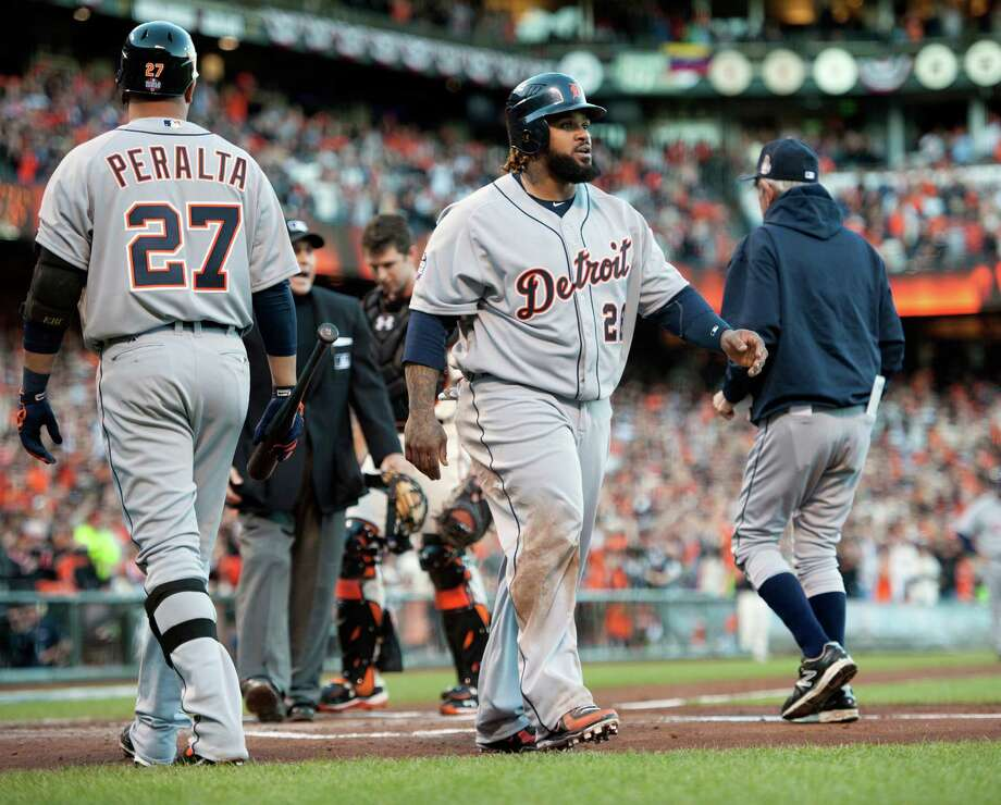 The Detroit Tigers' Prince Fielder (28) walks back to the dugout after being called out at home in the second inning against the San Francisco Giants in Game 2 of the 2012 World Series at AT&T Park on Thursday, October 25, 2012, in San Francisco, California. (Paul Kitagaki Jr./Sacramento Bee/MCT) Photo: Paul Kitagaki Jr., McClatchy-Tribune News Service / ARCHIVE