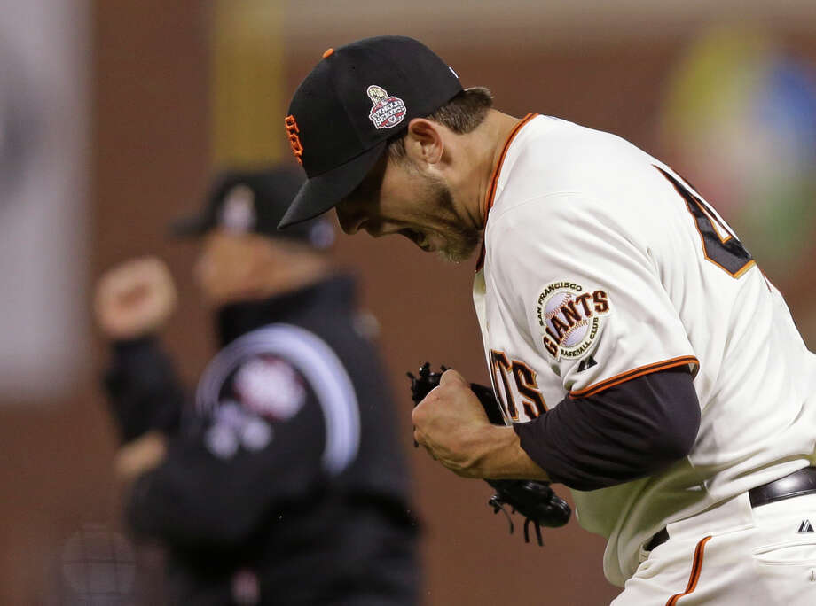 San Francisco Giants starting pitcher Madison Bumgarner reacts after the San Francisco Giants hit into a double play during the seventh inning of Game 2 of baseball's World Series Thursday, Oct. 25, 2012, in San Francisco. (AP Photo/Marcio Jose Sanchez) Photo: Marcio Jose Sanchez