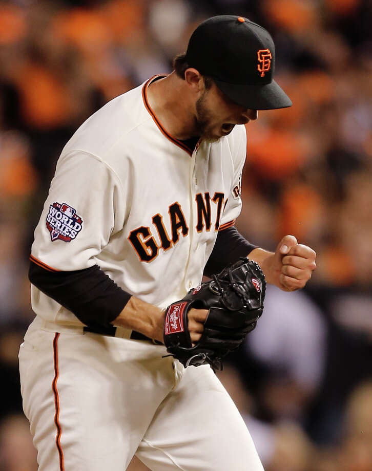 The Giants' Madison Bumgarner was happy with his outing, especially after striking out Omar Infante in the sixth. Photo: Michael Macor, Staff / SFC