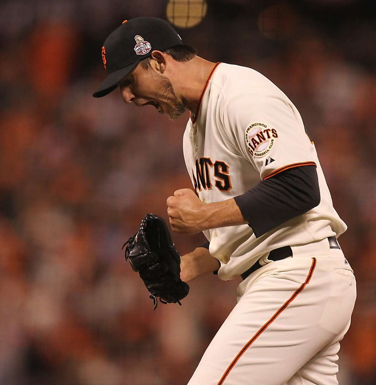 Giants' pitcher Madison Bumgarner reacts after retiring the side in the 6th inning during game 2 of the World Series at AT&T Park on Thursday, Oct. 25, 2012 in San Francisco, Calif.